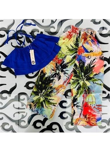 Hilal Akıncı Kids Kiz Çocuk Desenlı Salaş Pantolon Askili Renklı Bluz Ikılı Takim Mavi